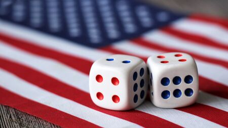 Two dice on the American flag, game