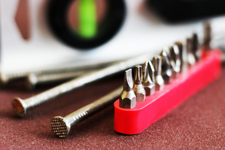 closeup many type of screwdriver head, object Stock Photo