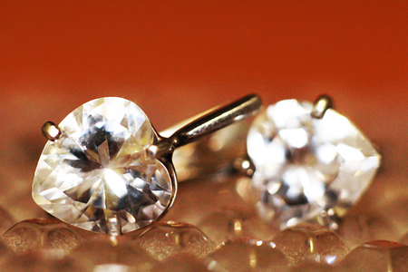 Close up of diamond earrings, jewelry lux Stock Photo