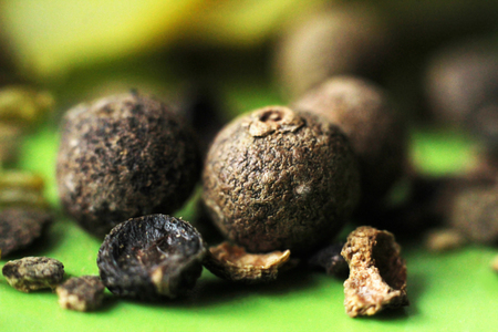 Black pepper, large spices, macro so close