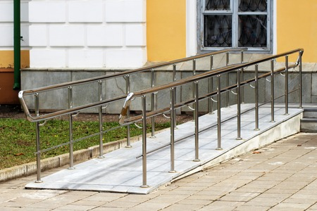 Ramp for wheelchair entry, outdoor object, nobody Stock Photo