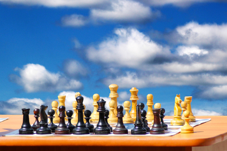 Chess on the Board, sky background, game object