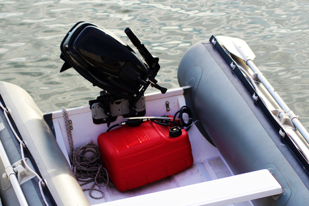 Red motor boat in the sea so close Stock Photo