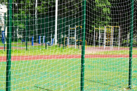 abstract soccer goal net pattern, outdoors Stockfoto