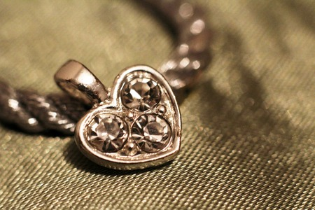 Silver heart pendant very close, Valentines day present