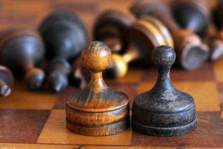 Old wooden chess so close, retro