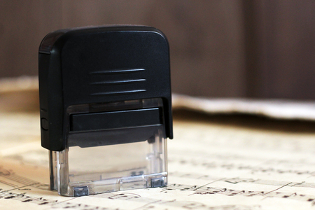 Stamp for office on paper music notes, so close
