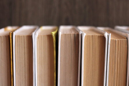 Set of old paper books so close