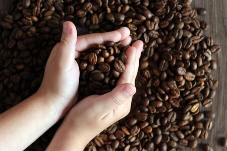 Roasted coffee beans in hands, homemade texture coffee background. Foto de archivo - 128256166