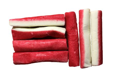 Crab sticks group isolated on white background, top view