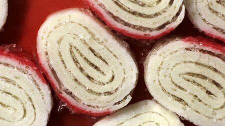Sliced frozen crab sticks, ice