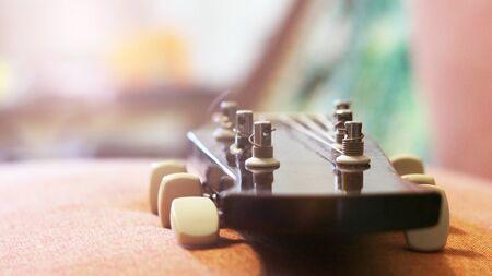 detail of classic guitar with shallow depth of field, vintage Zdjęcie Seryjne