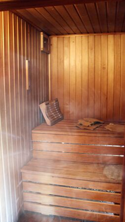 classic wooden sauna inside, health hot steam Фото со стока - 131394659