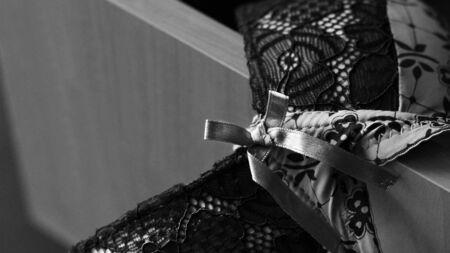 Beautiful fishnet bra and open underwear drawer so close Archivio Fotografico