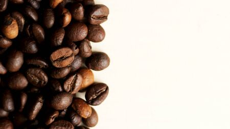 Coffee beans with copyspace for text. Top view.