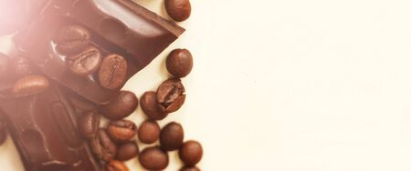 coffee bean and chocolate, top view food