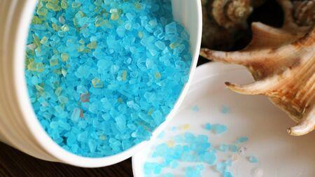 bowl with a blue bath salt so close Foto de archivo