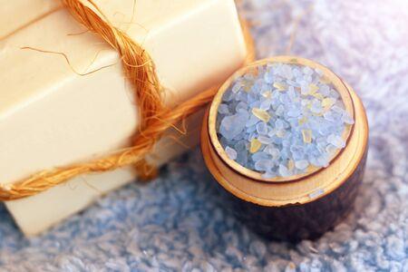 Sea blue bath salt in a bowl so close