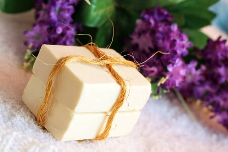 natural soap and purple flowers, beauty
