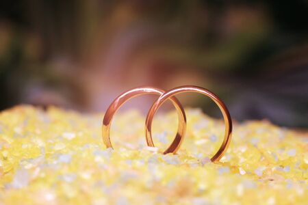 wedding rings and sea salt, nature