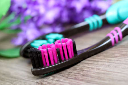 Toothbrushes with purple flowers. Healthcare object.