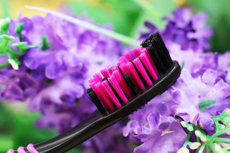 Black and pink toothbrush with purple flowers. Healthcare object.