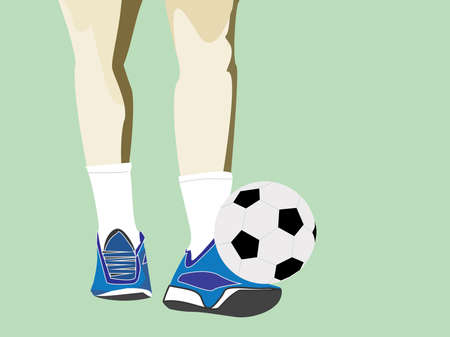 Men's feet and soccer ball on green field, sport illustration