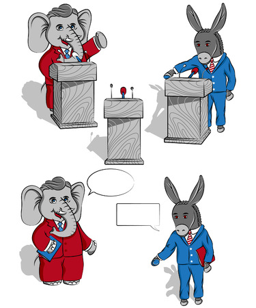 Elefant and donkey   This is a Political set of images featuring a Donkey and an Elephant  Black outline and colors of every object are layered separately  Vector