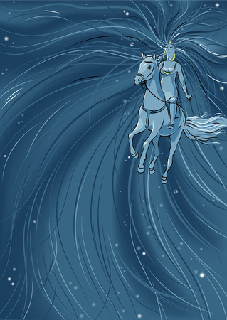 Woman riding horse  Woman with long flattering hair riding horse  Illustration is about beauty, romance and freedom  Mesh tool is used  일러스트
