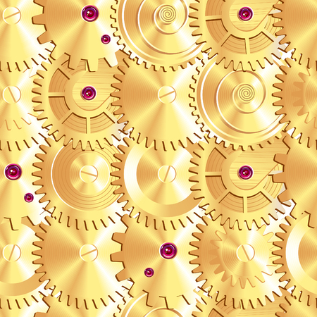 Golden clock gears arranged as fish scales  Seamless pattern  EPS 8  You can use vector picture elemens separately  Vector