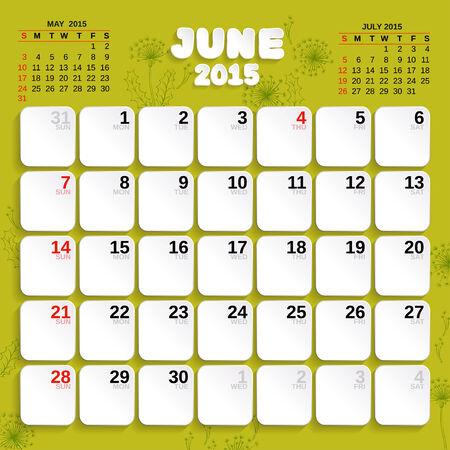 month: June. Vector Month Calendar 2015.