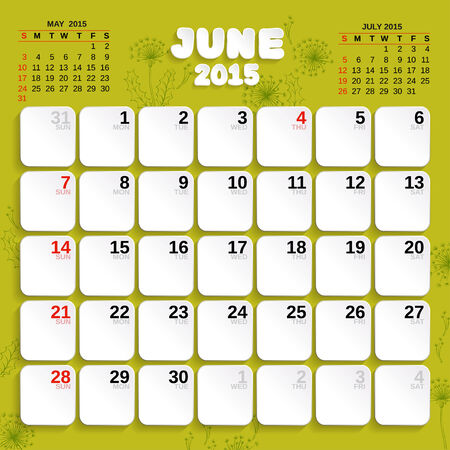 june: June. Vector Month Calendar 2015.