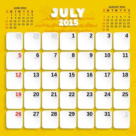 July. Vector Month Calendar 2015. Vector
