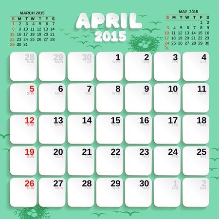 4월: April. Vector Month Calendar 2015. 일러스트