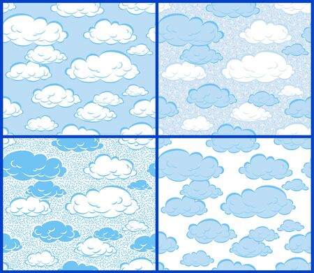 high up: 4 seamless patterns of clouds