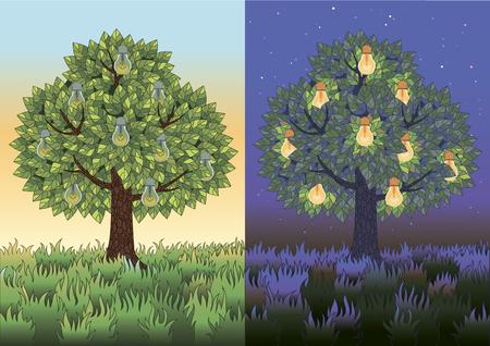 árbol frutal con bombillas de luz en el día y la noche. La ilustración es acerca de la conservación del medio ambiente y el ahorro energético.