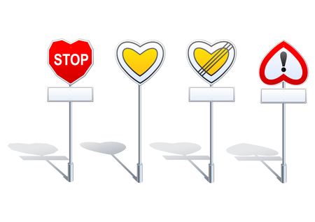 complementary: 4 priority and warning road signs with complementary panels designed with heart shape. This can be used to illustrate a love story e.g. Shadows are layered separately.