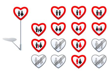 Zestaw znaków drogowych zaprojektowanych w kształcie serca i ludzkich pictogramms. Jego o relacji płci, rodziny, małżeństwa osób tej samej płci, dzieci przyjęcia, w tym. LGBT adopcji, zakazy i derestrictions w tych dziedzinach.