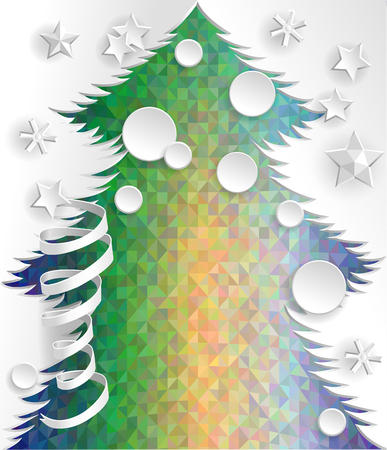 psychodelic: Paper New Year Tree on psychodelic background.