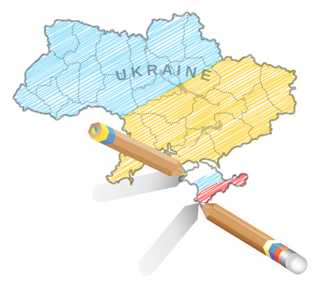 Political illuatration about events in Ukraine in 2014.