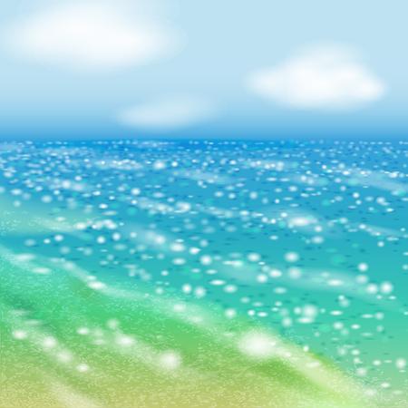 Clear day at seaside and shinin sea. Çizim
