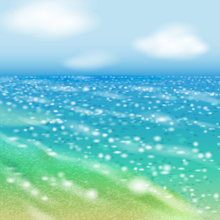 shallow: Clear day at seaside and shinin sea. Illustration
