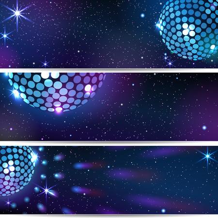 Three Horizontal Disco Backgrounds. Illusztráció