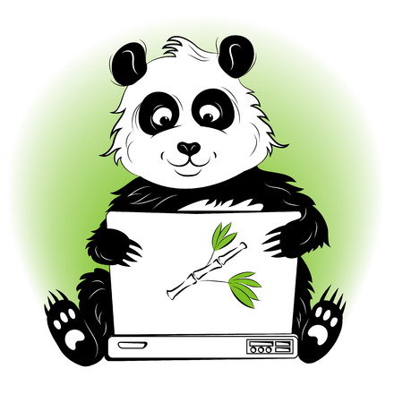 Panda With Laptop.