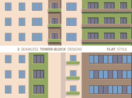 Two Seamless Tower-block Designs. Flat Style.