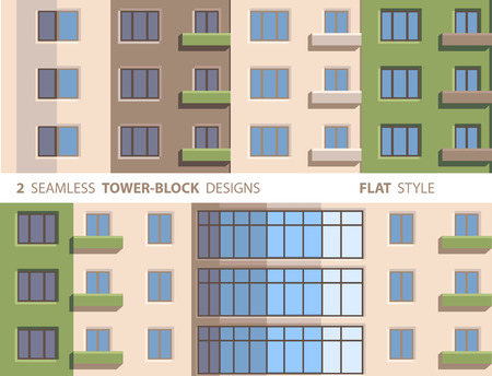 towerblock: Two Seamless Tower-block Designs. Flat Style.