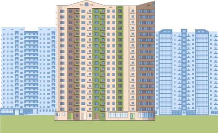 Skyscrapers. City district. Ilustração