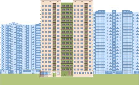 Skyscrapers. City district. Illusztráció