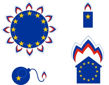 Russian Gas in Europe. Political cartoon.