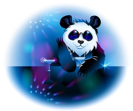 drunken: Panda in Pub. Illustration